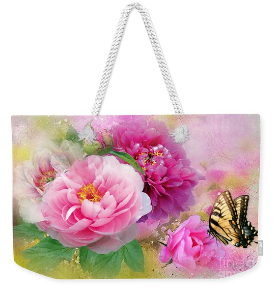 Peonies And Butterfly Weekender Tote Bag