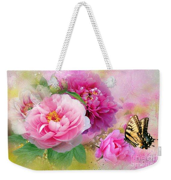 Peonies And Butterfly Weekender Tote Bag