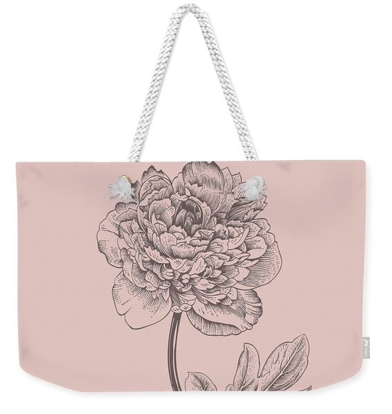 Peony Blush Pink Flower Weekender Tote Bag