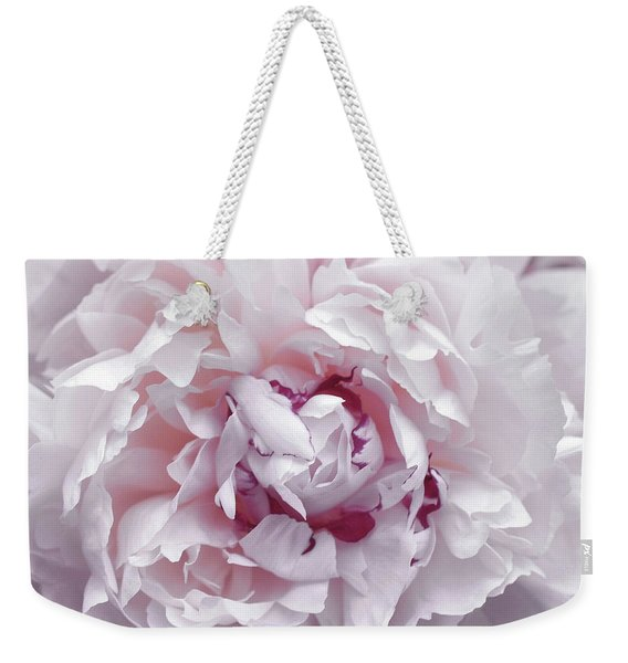 Weekender Tote Bag featuring the photograph Peony Pom Poms by JAMART Photography