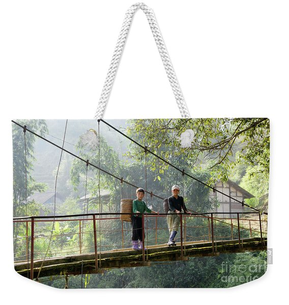 People And Children From Sapa, Mountainous Area Of Northern Vietnam In Their Daily Life. Weekender Tote Bag