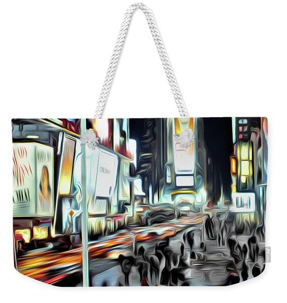 People Walking In Time Square Weekender Tote Bag