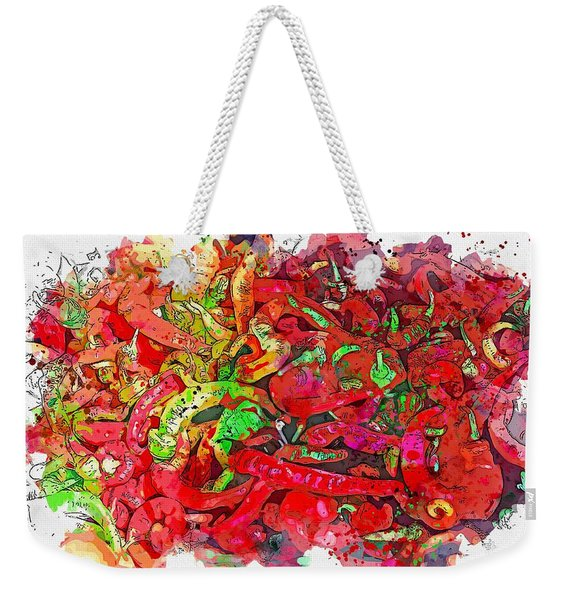 Peppers -  Watercolor By Ahmet Asar Weekender Tote Bag