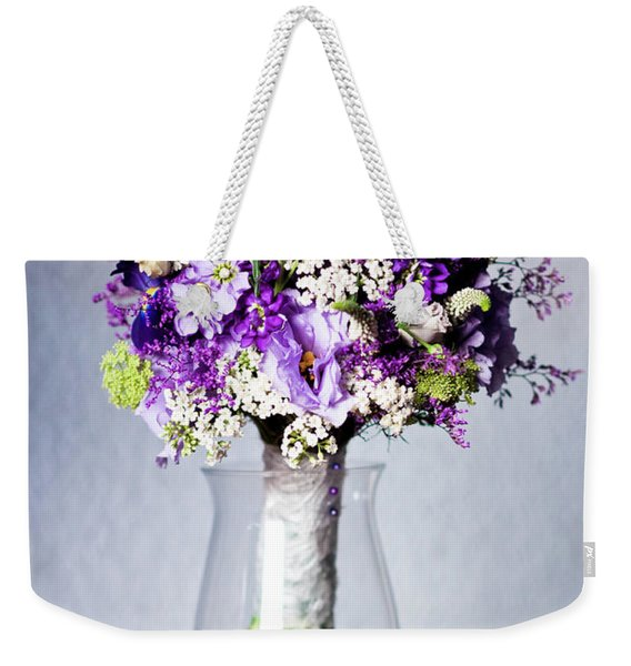 Perfect Bridal Bouquet For Colorful Wedding Day With Natural Flowers. Weekender Tote Bag