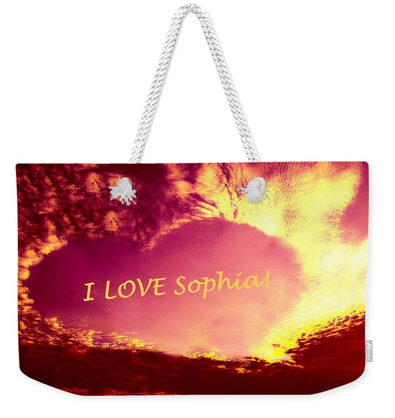 Personalized Heart I Love Sophia Weekender Tote Bag