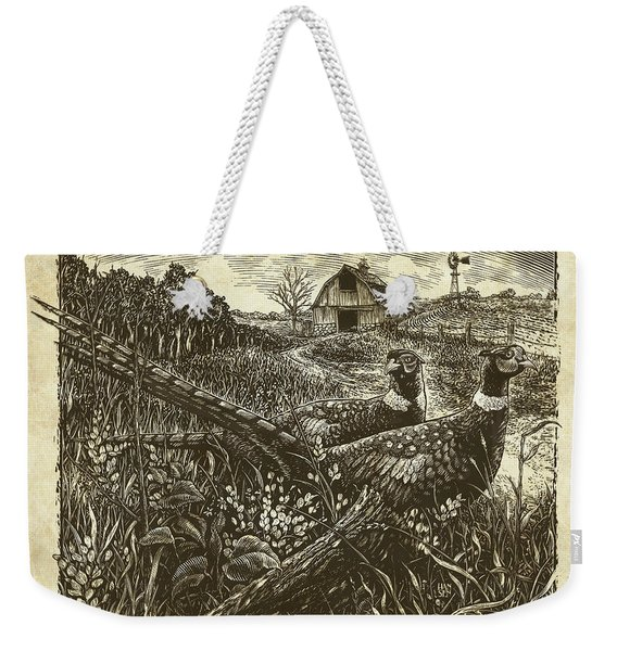 Weekender Tote Bag featuring the drawing Pheasants by Clint Hansen
