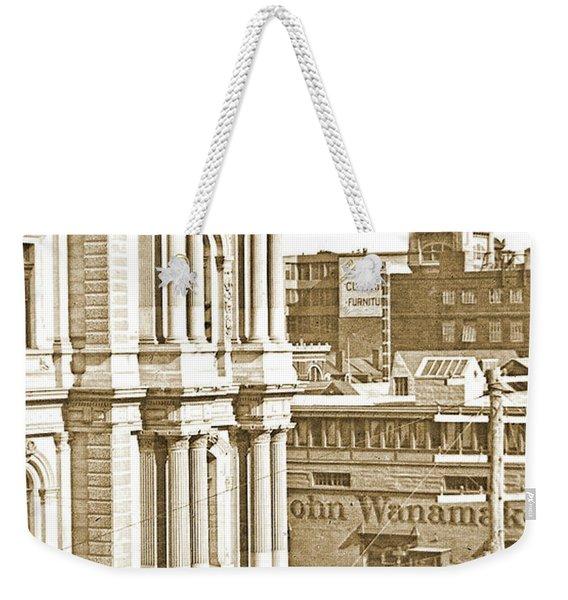 Philadelphia City Hall And Wanamaker Store C 1900 Vintage Photog Weekender Tote Bag