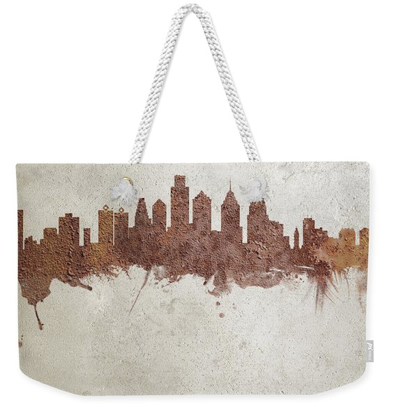 Philadelphia Pennsylvania Rust Skyline Weekender Tote Bag