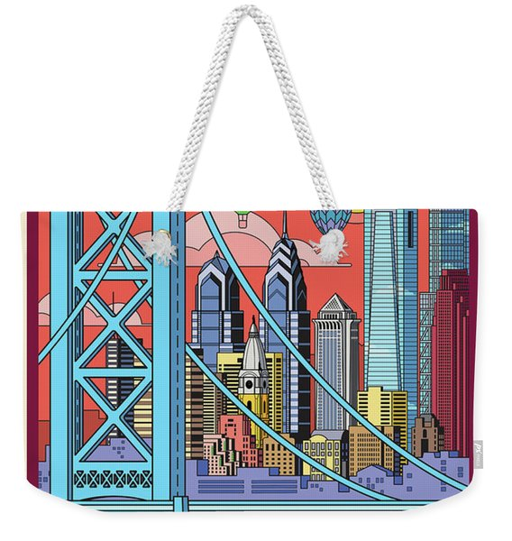 Philadelphia Poster - Pop Art - Travel Weekender Tote Bag