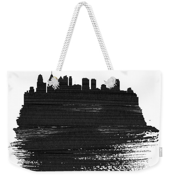 Philadelphia Skyline Brush Stroke Black Weekender Tote Bag
