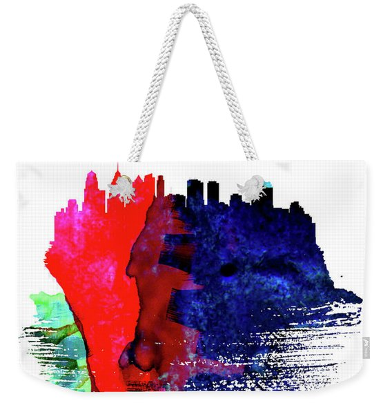 Philadelphia Skyline Brush Stroke Watercolor   Weekender Tote Bag