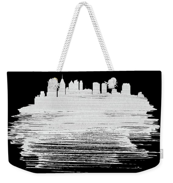 Philadelphia Skyline Brush Stroke White Weekender Tote Bag