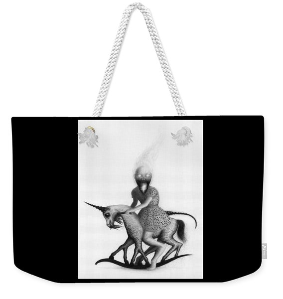 Weekender Tote Bag featuring the drawing Philippa The Crackling Rider - Artwork  by Ryan Nieves
