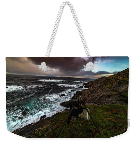 Photo Gear On Landscape Shot Weekender Tote Bag