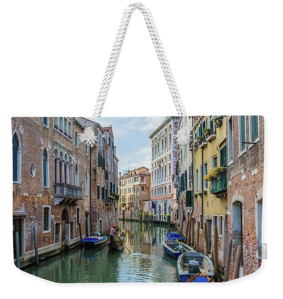 Gondolier On Canal Venice Italy Weekender Tote Bag