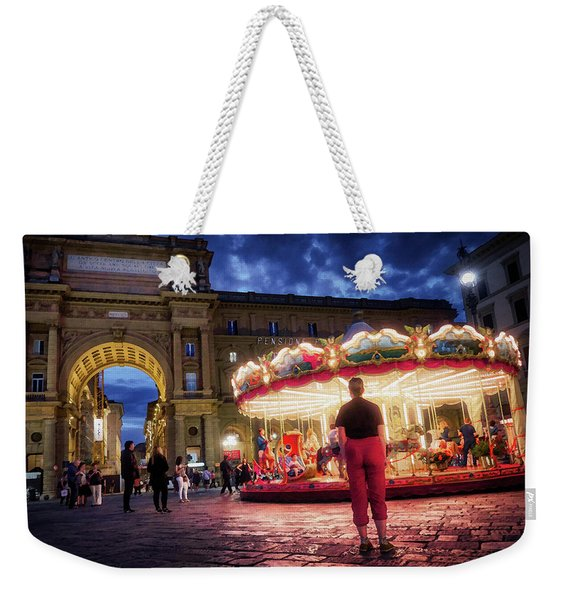 People At Piazza Della Reppublica At Night In Florence, Italy - Painterly Effect Weekender Tote Bag