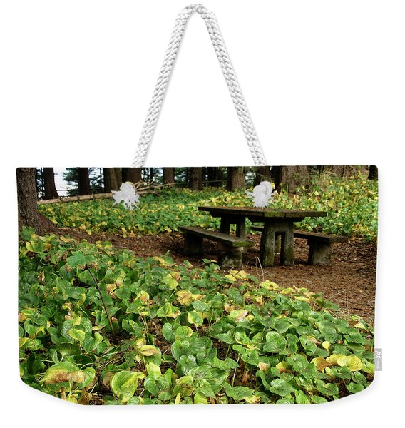 Picnic  Table In The Forest  Weekender Tote Bag
