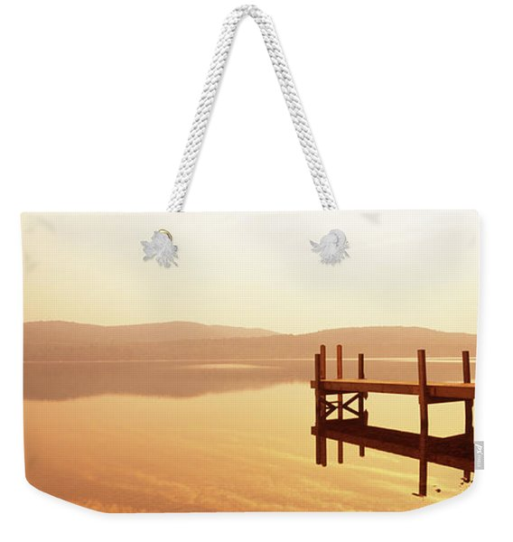 Pier On A Lake At Sunset, Pleasant Weekender Tote Bag