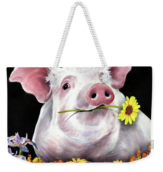Pig With Flowers Weekender Tote Bag