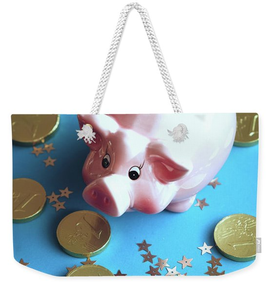 Piggy Bank On The Background With The  Chocoladen Coins Weekender Tote Bag