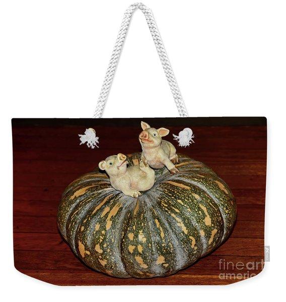 Pigs On Pumpkin By Kaye Menner Weekender Tote Bag