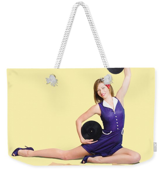 Pin-up Woman Balancing Sound With Record Music Weekender Tote Bag