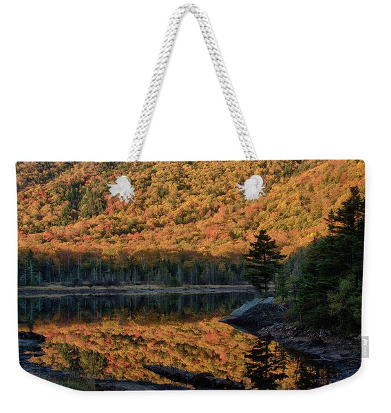 Pine Tree Reflection In The Beaver Pond Weekender Tote Bag