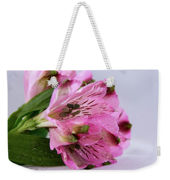 Pink Alstroemeria-4 Weekender Tote Bag