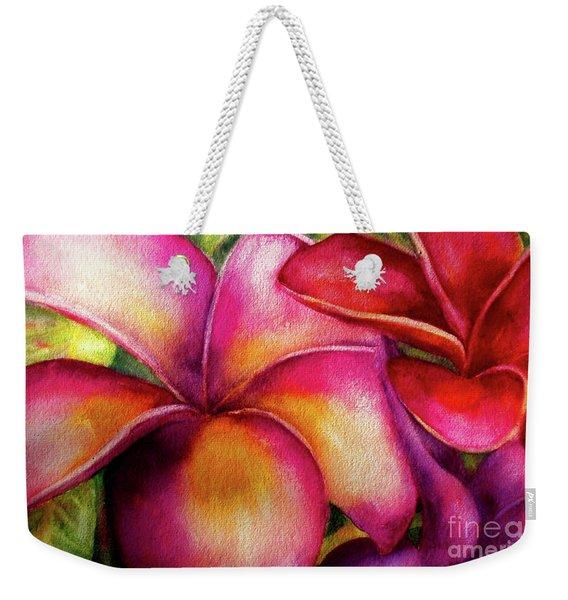 Pink And Red Plumerias Weekender Tote Bag