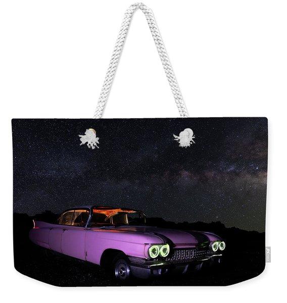 Pink Cadillac In The Desert Under The Milky Way Weekender Tote Bag