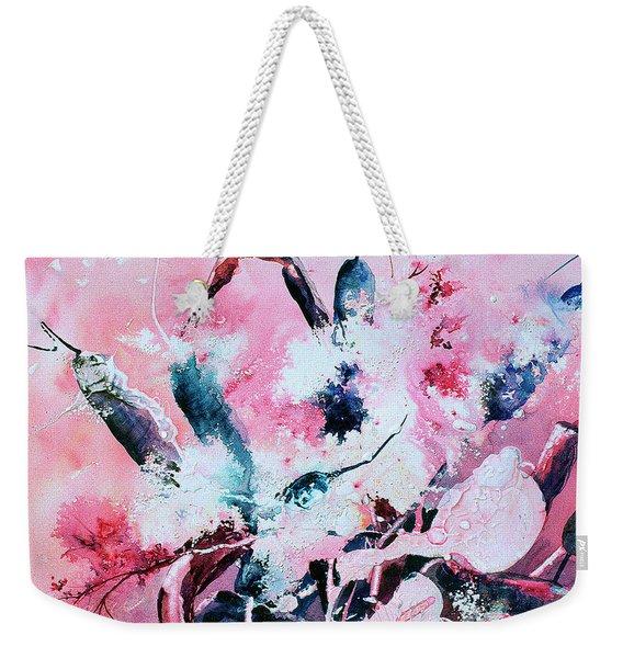 Pink Cattails Weekender Tote Bag