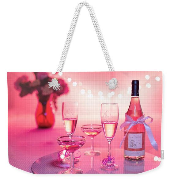 Pink Champagne Weekender Tote Bag