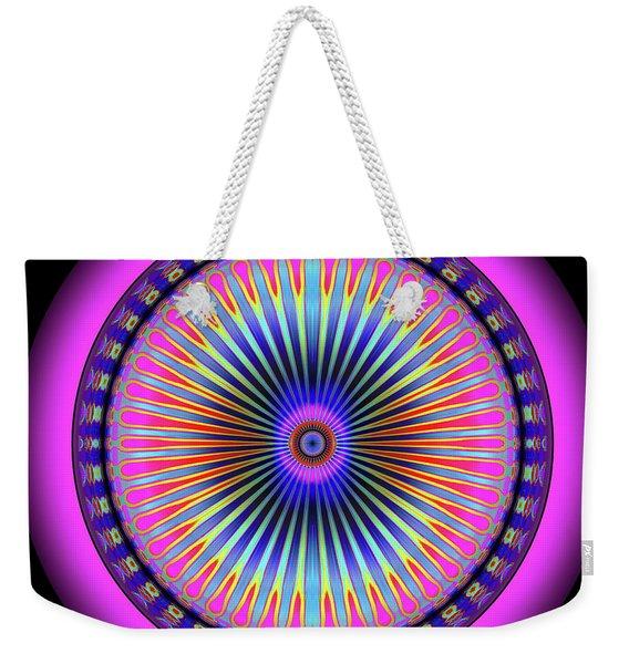 Weekender Tote Bag featuring the digital art Pink Circus Sun  by Visual Artist Frank Bonilla