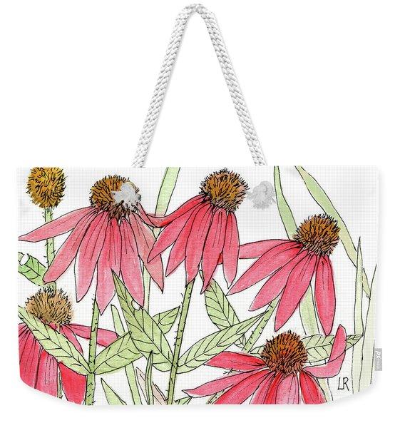 Pink Coneflowers Gather Watercolor Weekender Tote Bag