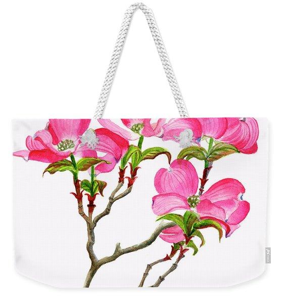 Pink Dogwood Array Vertical Design Weekender Tote Bag