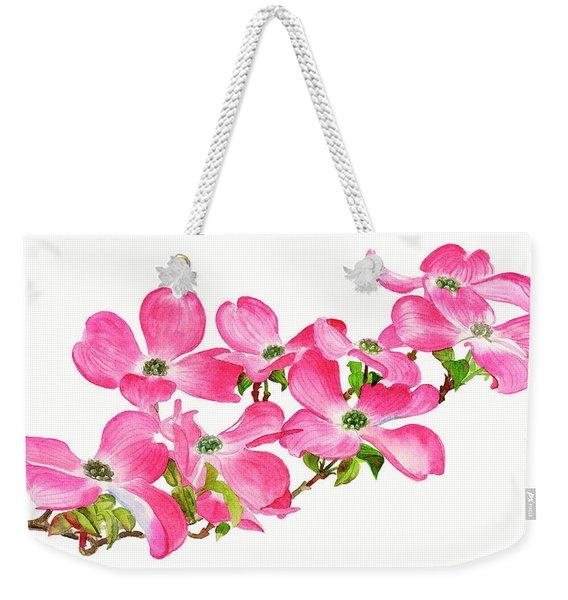 Pink Dogwood On A Branch, Horizontal Design Weekender Tote Bag