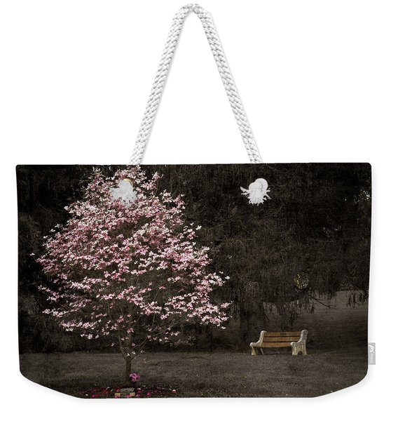 Pink Dogwood Tree And A Bench Weekender Tote Bag