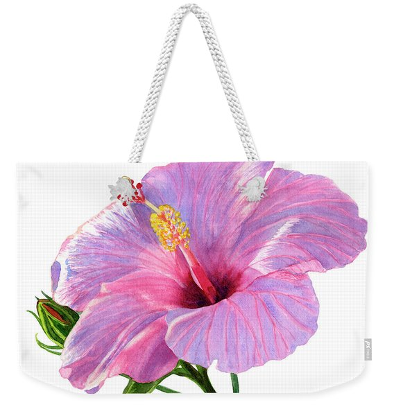 Pink Hibiscus Blossom With Blue Shadows Weekender Tote Bag