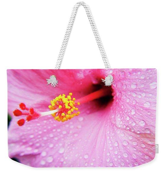 Pink Hibiscus Drops Weekender Tote Bag