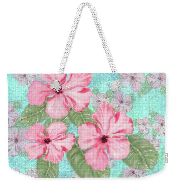 Pink Hibiscus Print On Aqua Weekender Tote Bag