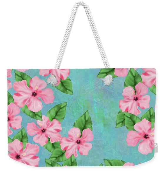 Pink Hibiscus Tropical Floral Print Weekender Tote Bag