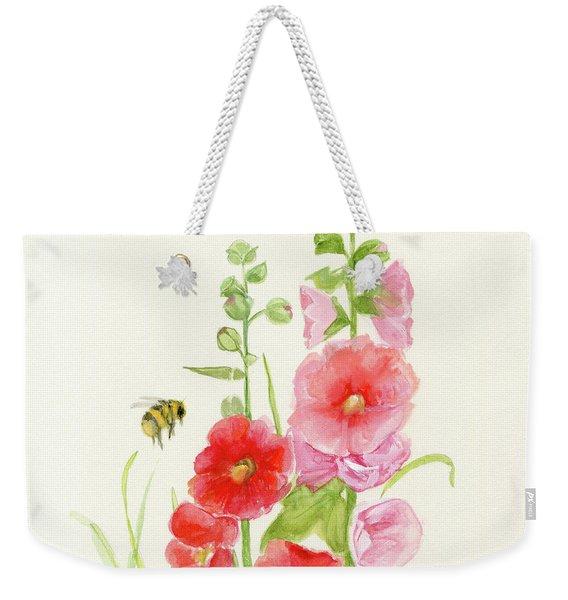 Pink Hollyhock Watercolor Weekender Tote Bag