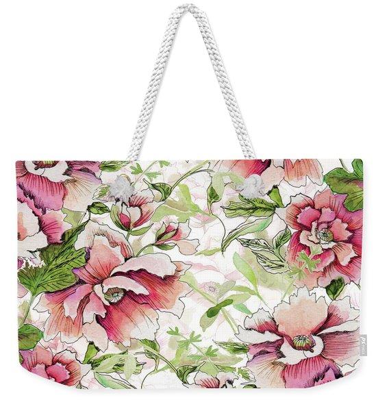 Pink Peony Blossoms Weekender Tote Bag