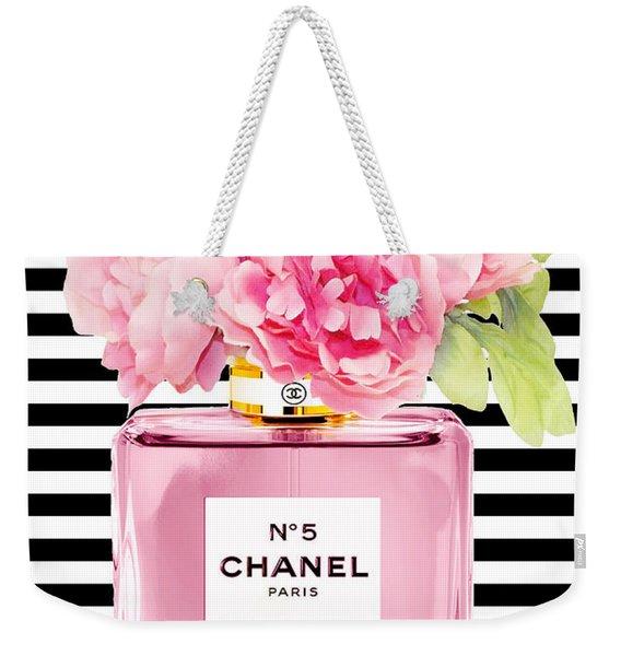 Pink Perfume Print With Peony Weekender Tote Bag
