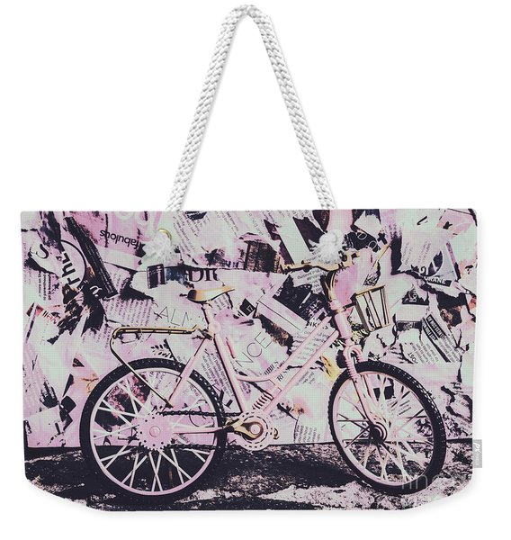 Pink Posterized Pushbike Weekender Tote Bag