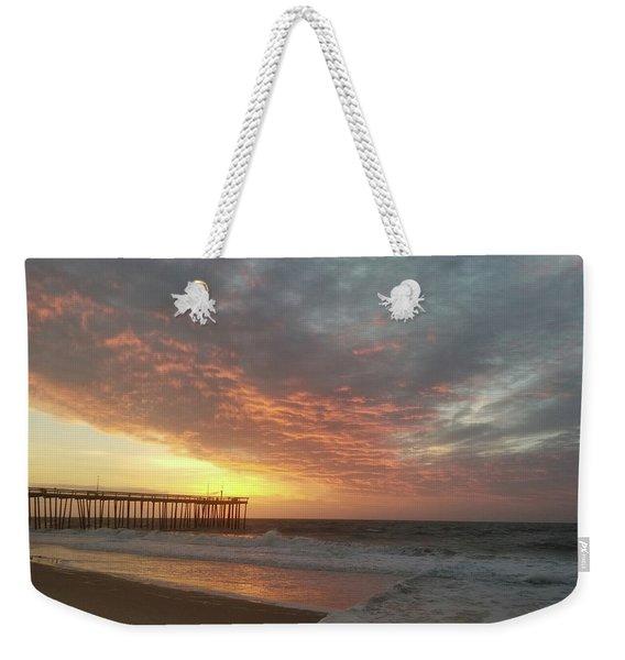 Pink Rippling Clouds At Sunrise Weekender Tote Bag