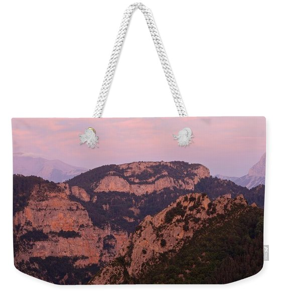 Pink Skies Above Pena Montanesa Weekender Tote Bag