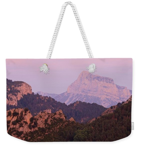 Pink Skies And Alpen Glow In The Anisclo Canyon Weekender Tote Bag