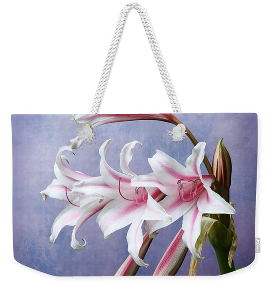 Pink Striped White Lily Flowers Weekender Tote Bag