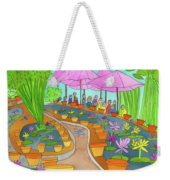 Weekender Tote Bag featuring the painting Pink Umbrella And Lilies by Suzy Mandel-Canter